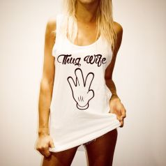 THUG WIFE WOMENS WHITE SINGLET