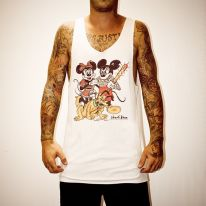 GANGSTER MICKEY WHITE SINGLET