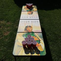 FOR OUR TINS BEER PONG TABLE